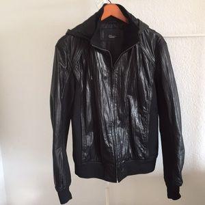 Zara genuine leather hoodie jackets